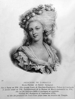 La Princesse de Lamballe, Marie-Thérèse-Louise de Savoie-Carignan amenée devant le tribunal révolutionnaire présidé par Hébert fut massacrée le 3 septembre 1792 à la Grande Force.