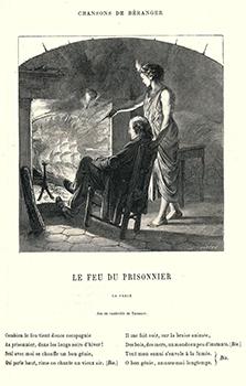 Le Chansonnier Béranger représenté devant la cheminée de sa chambre à la Grande Force