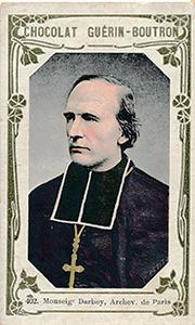 Monseigneur Darboy fusillé pendant la Commune figure parmi les célébrités des images du chocolat Guérin-Boutron.