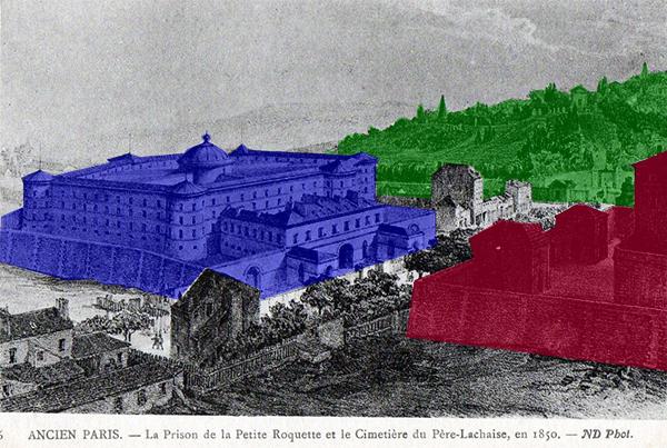 Les deux prisons face à face, en rouge la Grande Roquette