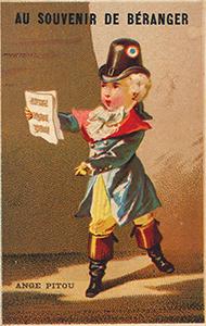 """Le chansonnier Ange Pitou, sur une chromolithographie de la boutique """"Au souvenir de Béranger"""", Bd de Strasbourg. Elle donnait droit à un aller et retour gratuit en omnibus."""