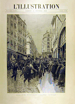"""La """"Unee de l'Illustration, 26 février 1898 pour l'arrivée de Rochefort devant la porte de Saint-Pélagie."""