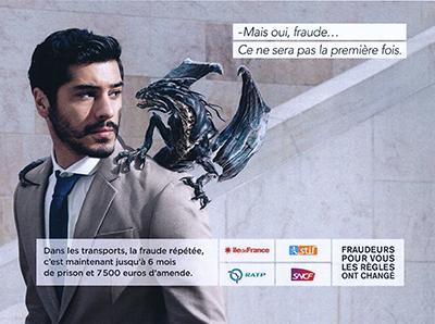 Un des visuels de la campagne contre la fraude répétée (six mois d'emprisonnement et 7500 euros d'amende)