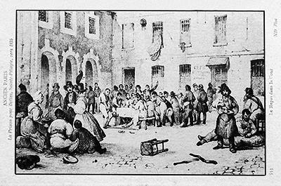 La cour des dettiers au moment du repas en 1835
