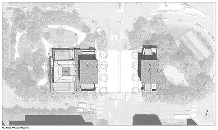 Plan de l'opération de restructuration des deux bâtiments englobant les squares mitoyens. Notamment celui de l'Abbé-Migne qui sera remodelé. (doc. Artene)