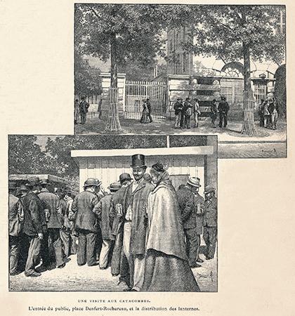 à l'entrée des Catacombes à la fin du XIXe siècle, une distribution de lanternes