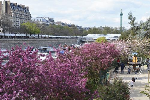 Le décor naturel change avec les saisons, ici au printemps.