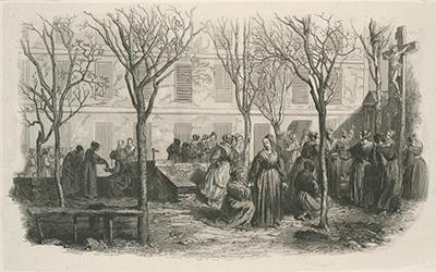 Les femmes se retrouvaient dans la cour sous les tilleuls