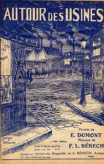 """cette partition de 1922 illustrée par Georges Desains décrit le quartier où vit le héros de la chanson : """"Ce n'est pas un quartier rupin… Mais des ch'mi-nées aux fumées noires qui sèchent la gorge et qui font boire!"""""""