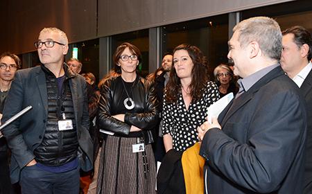 Thierry Grillet directeur à la diffusion culturelle (BnF), Laurence Engel président de la BnF, la photographe Sandra Mehl (reportage : Ilona et Maddelena) et Didier de Faÿs (photographie.com)