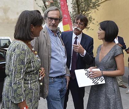 Perpignan 2015, la ministre de la culture Fleur Pellerin était présente avec son conseiller au couvent des Minimes, lieu dédié au photojournalisme et à l'association Visa pour l'Image créée par Jean-François Leroy.