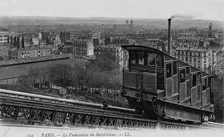 Vue sur Paris du 1er funiculaire de Montmartre, vers 1900.