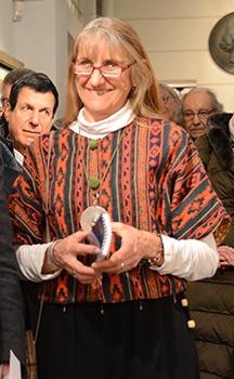 Marie-Christine Baroni sa fille lors du vernissage de l'exposition.
