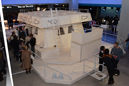 L'Acali amarré au niveau -1 du Centre Pompidou